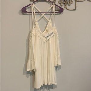 Cold shoulder ivory boutique top NWT